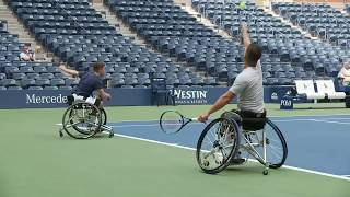 Gordon Reid and Alfie Hewett Practicing on Ashe at the 2018 US Open