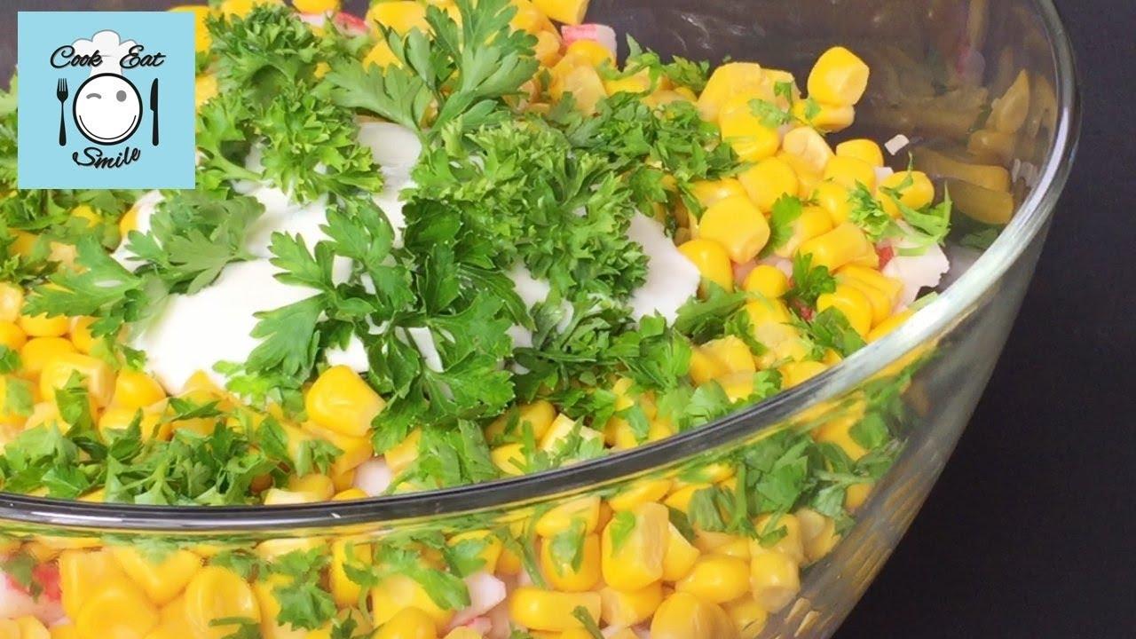 Салат с грибами, сыром и крабовыми палочками. Просто и вкусно