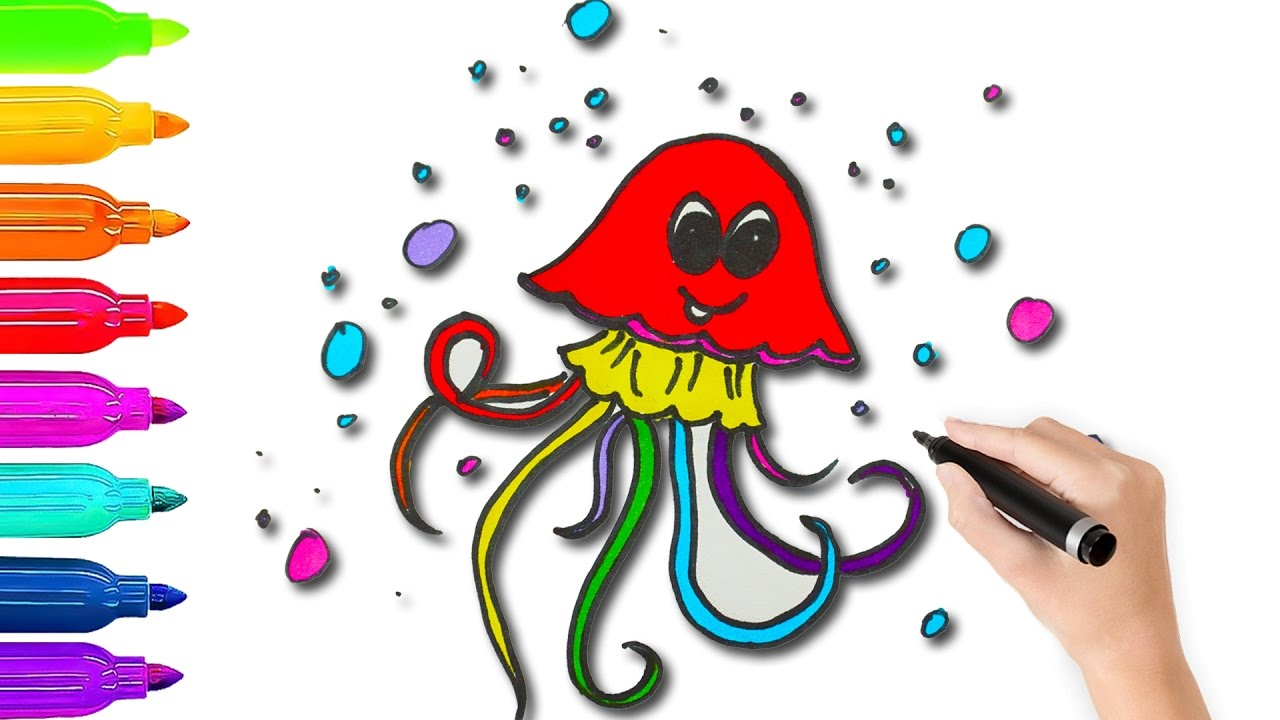 How To Draw Jellyfish Coloring Pages l Coloring Book Videos For ...