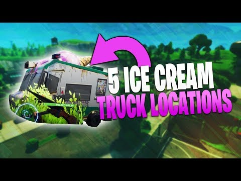 5 Ice Cream Truck Locations! Fortnite Battle Royale Week 4 Battle Pass Challenge!
