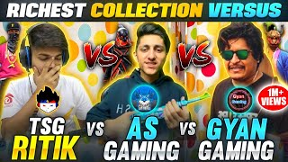 TSG Ritik Vs Gyan Gaming Vs As Gaming 😱|| India's Richest Collection Versus - Garena Free Fire
