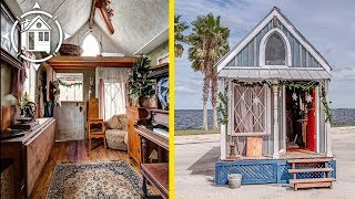 She Sleeps in a Piano!?! Tour her Victorian TINY HOUSE