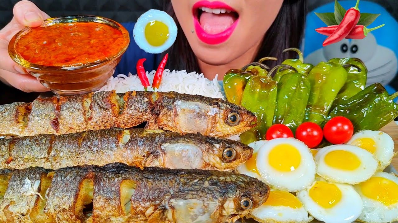 ASMR FRIED FISH, EGGS, GRILLED PEPPER, CHILI, RICE + CURRY SAUCE MASSIVE Eating Sounds