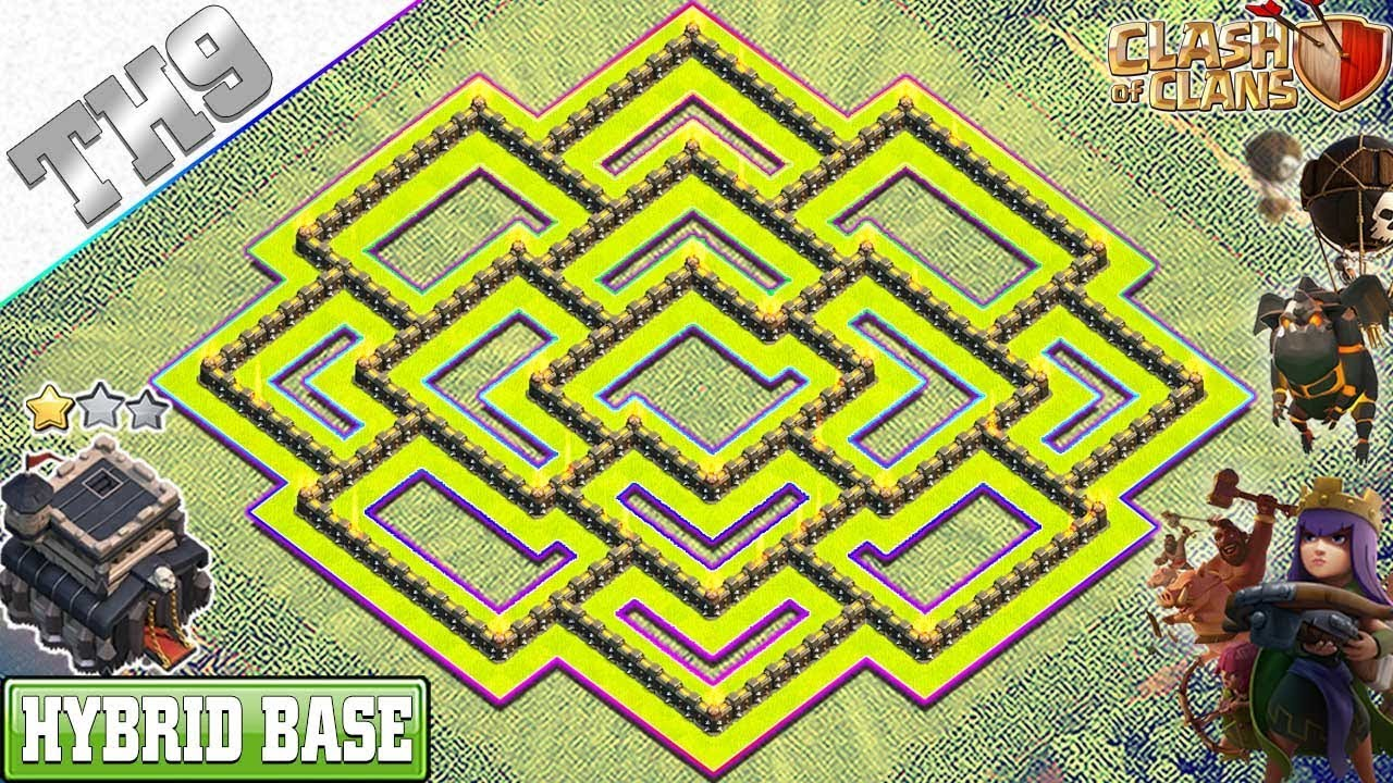Best Th9 Base Layout 2020 NEW BEST TH9 Base 2019 with REPLAY | TH9 HYBRID/FARMING Base