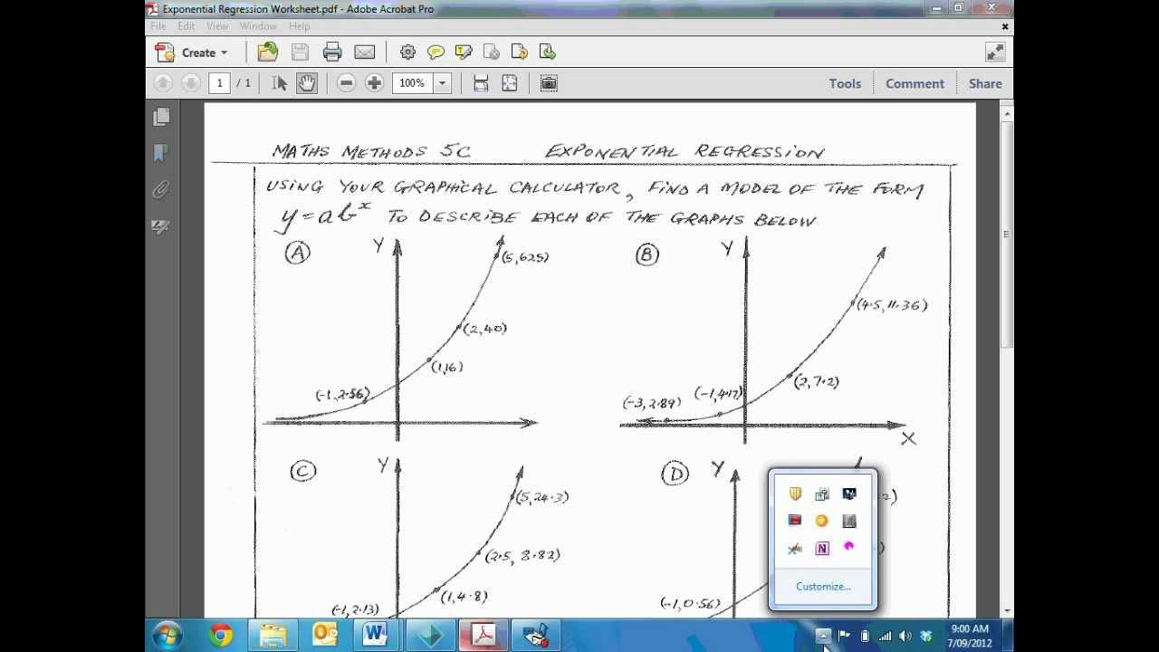 worksheet Exponential Regression Worksheet how to do an exponential regression youtube regression