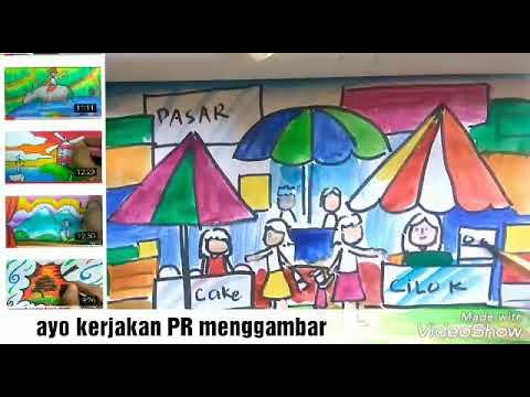 Melukis Tema Pasar Pagi Dengan Mudah Drawing Wet Market Youtube