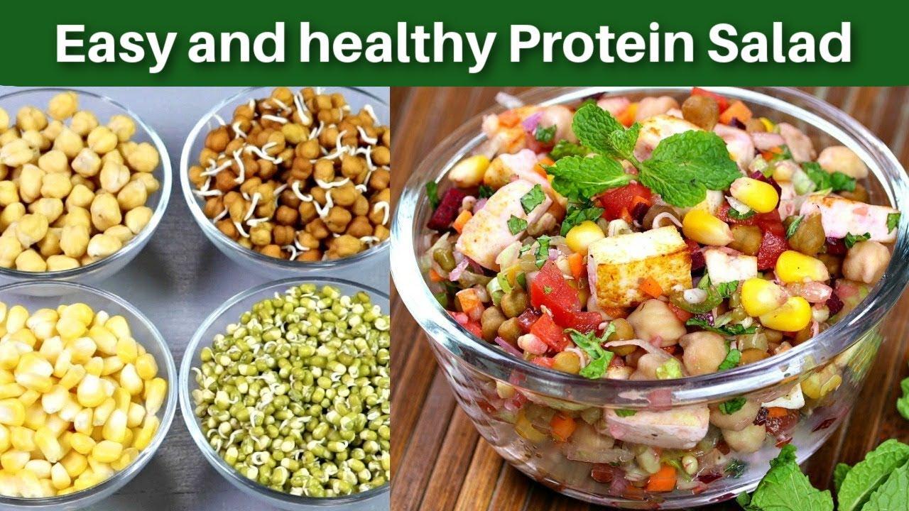 À¤ª À¤° À¤Ÿ À¤¨ À¤¸à¤² À¤¦ Protein Salad Weight Loss Recipe Sprouts Salad Recipe Kabitaskitchen Youtube