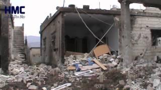 اثار الدمار على قرية الحويز  ريف حماة الغربي 23-2-2015