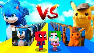 Lucky block de Sonic vs Lucky block de Detective Pikachu en Minecraft