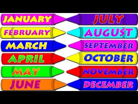 Months of the Year with Spellings   Slow Version For Kids   Preschool Learning  