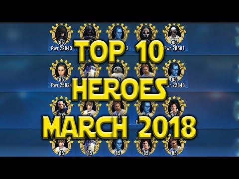 Top 10 Best Heroes March 2018 | Star Wars: Galaxy Of Heroes - SWGOH