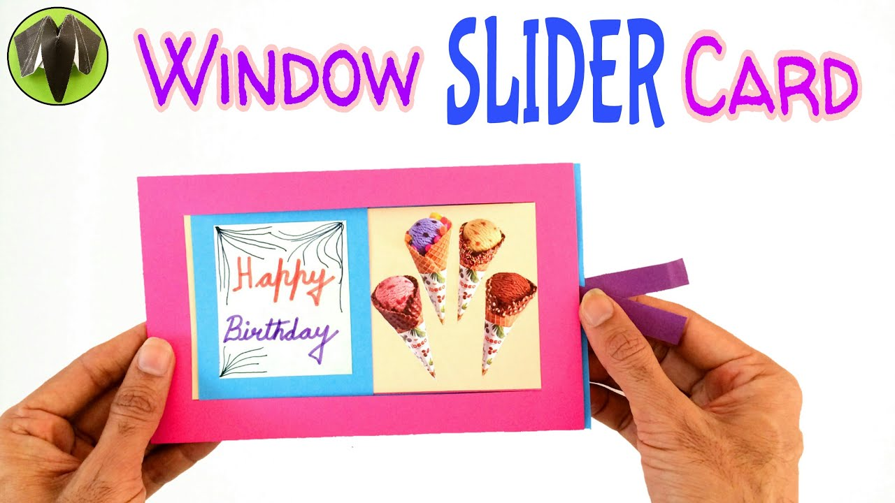 WINDOW SLIDER CARD Birthday theme DIY Tutorial by Paper