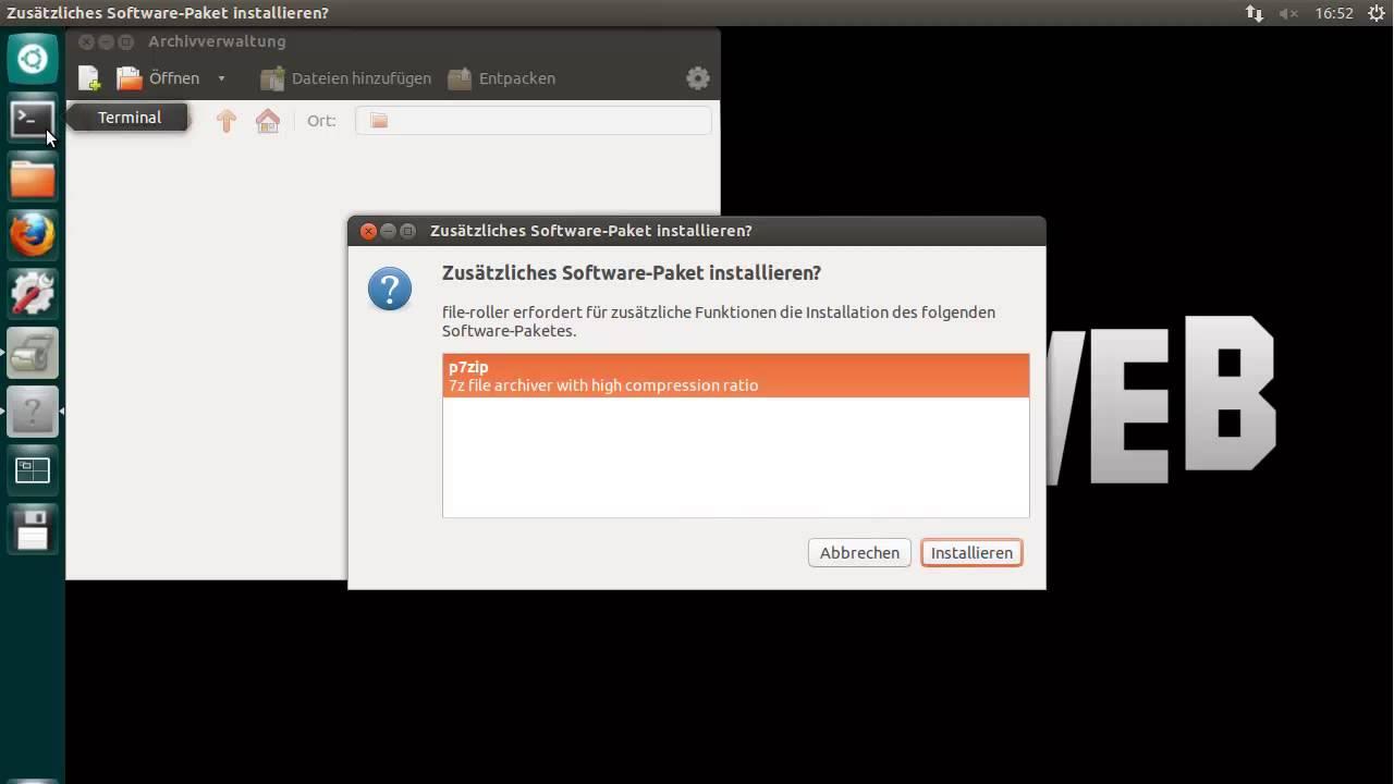 7zip Archive öffnen - Ubuntu 12 10