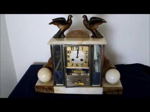 pendule cage verre art déco oiseaux mouvement de paris sonne 12 coups de minuit