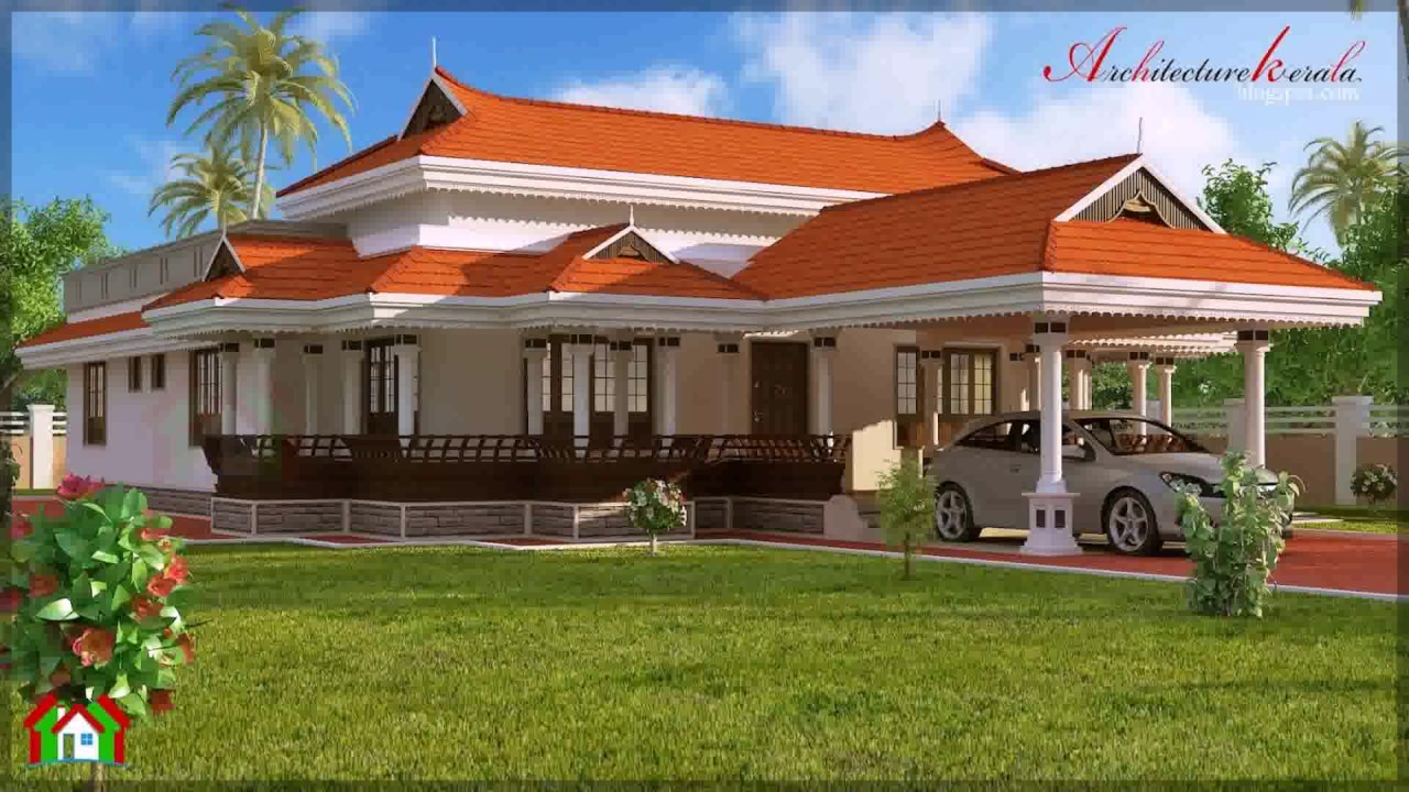 Kerala style house elevation youtube for Traditional indian house designs