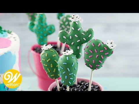 """Paletas de pastel """"Cake Pops"""" en forma de cactus"""