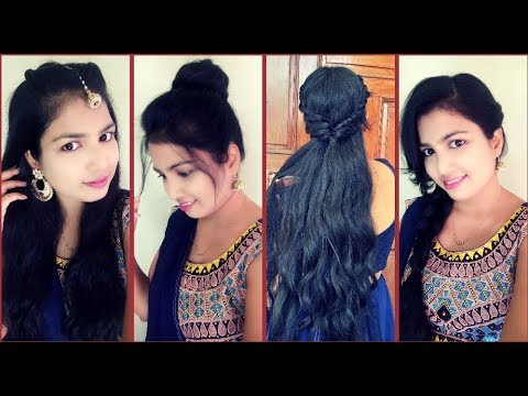 Easy And Quick Festive Hairstyles Navratri Special 2018 Youtube