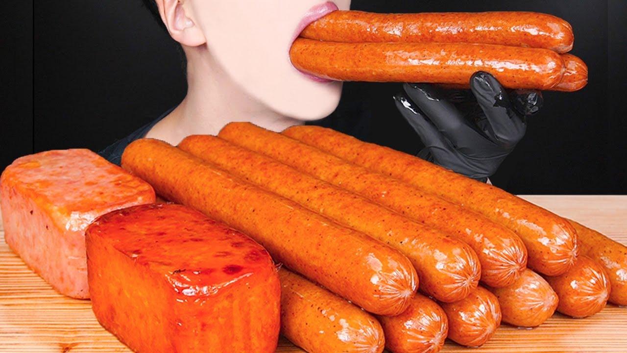 ASMR SPICY SAUSAGE SPAM CHEESY MUKBANG COOKING 대왕 소세지 먹방辛い スパム ソーセージ チーズ 咀嚼音 モッパン SosisEATING SOUNDS