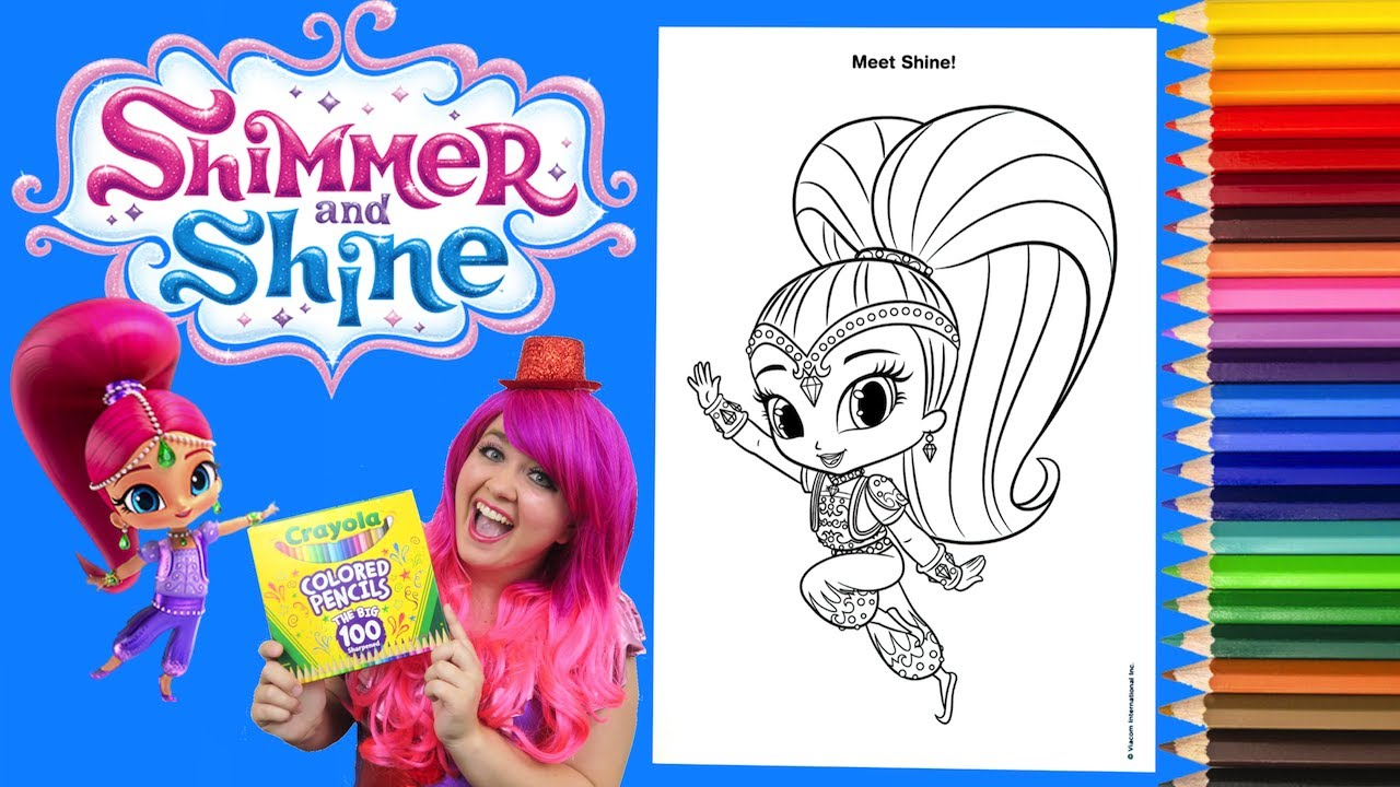 Coloring Shine Shimmer And Shine Coloring Book Page Colored Pencil
