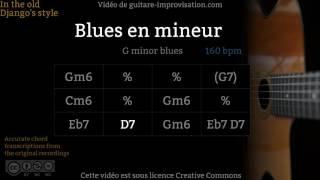 Blues en mineur : Gm (160 bpm) - Gypsy jazz Backing track / Jazz manouche