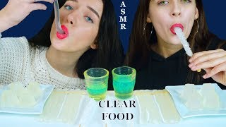 ASMR CLEAR FOOD, Edible GLASSES, JELLY STRAWS, ROCK CANDY, JELLO CUPS | Eating Sounds 먹방
