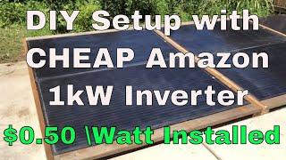 1000W Cheapest Amazon Y&H Grid Tie Inverter Solar Panel Setup Review