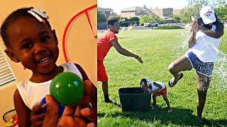 EXTREME FAMILY WATER BALLOON FIGHT GONE WRONG! MOMMY VS DAUGHTER INDOOR BASKETBALL SHOOTOUT! 💦🏀