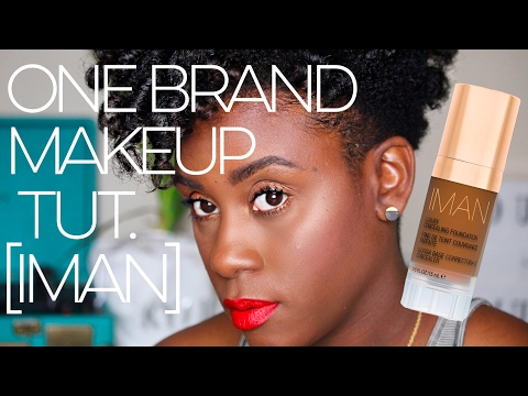 One Brand Makeup Tutorial for Dark Oily Skin using IMAN Cosmetics -B.O.M.B Makeup Challenge