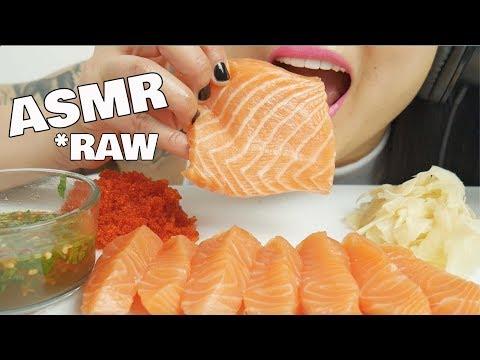 ASMR *RAW SUSHI GRADE SALMON (INTENSE EATING SOUNDS)   SAS-ASMR