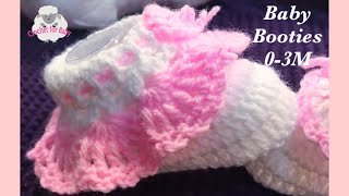 Easy crochet cuffed baby booties for beginners - Newborn, 0-3 month, 3-6M by Crochet for Baby #186