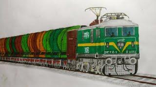 How to draw Ajni WAG-9 locomotive: Freight train, Step by step