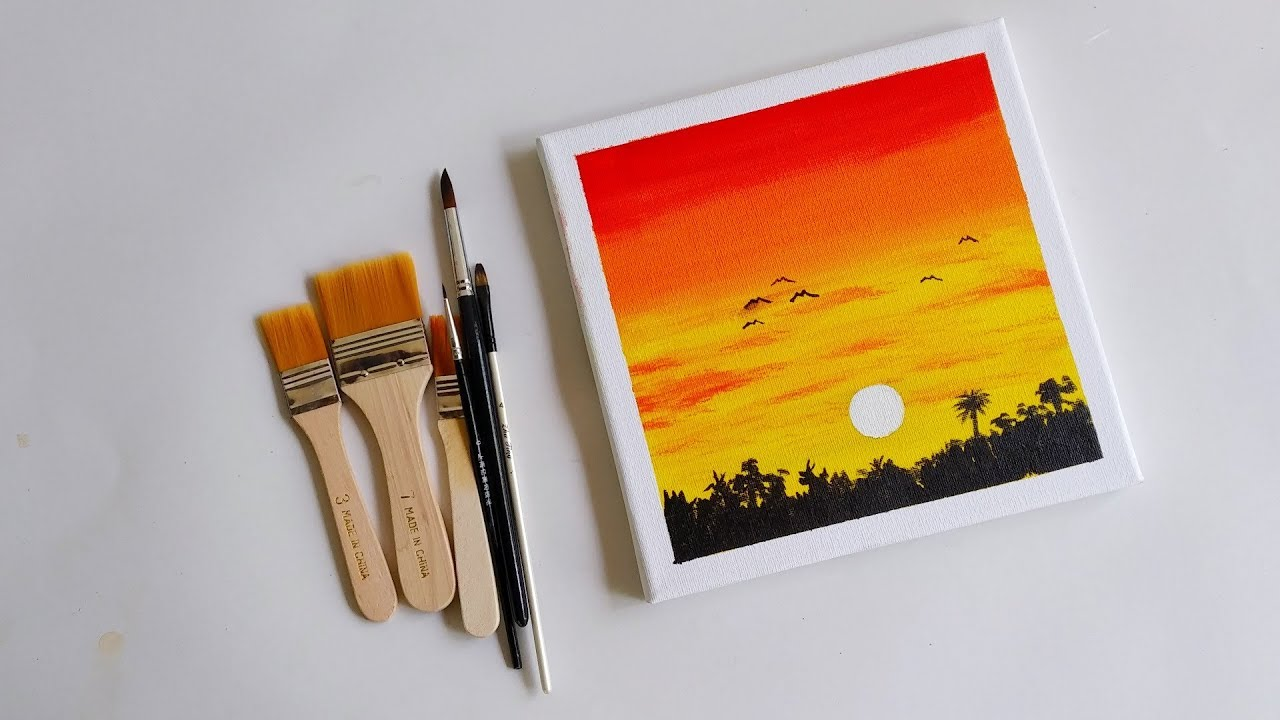 Easy Acrylic Painting Sunset Art On Mini Canvas Step By 8 Youtube
