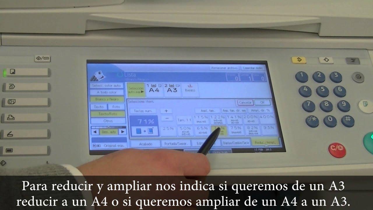 Reducir O Ampliar Con La Impresora Mpc3001 Youtube