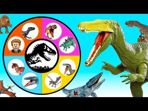 Jurassic World SPIN WHEEL GAME Lots of Dinosaur Toys! Spinosaurus, Ceratosaurus |
