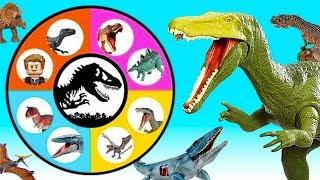 Jurassic World SPIN WHEEL GAME Lots of Dinosaur Toys! Spinosaurus, Ceratosaurus