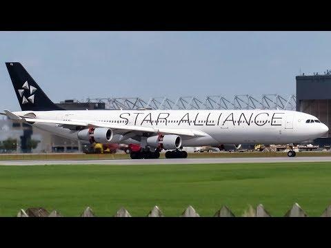 "Lufthansa ""Star Alliance"" Airbus A340-300X (A343) landing & departing Montreal (YUL/CYUL)"