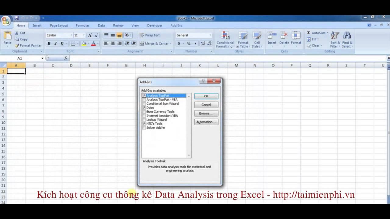 Kích hoạt công cụ thống kê Data Analysis trong Excel – http://taimienphi.vn