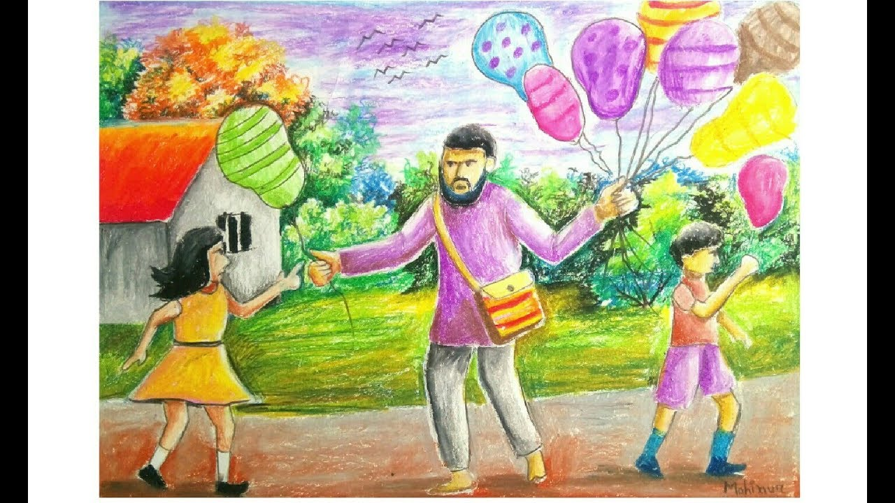 Oil pastle drawing a ballon seller with kids step by step ...