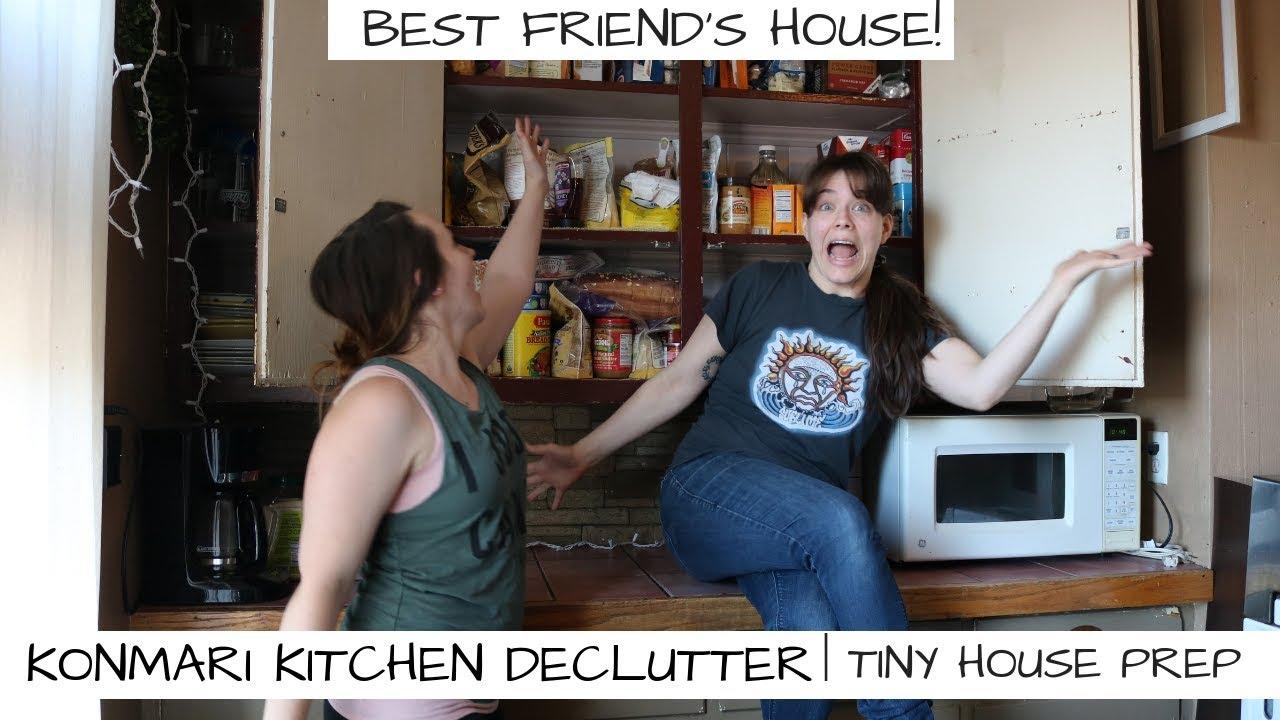 HUGE KITCHEN DECLUTTER, ORGANIZE, DEEP CLEAN | MY BEST FRIEND\'S HOUSE! |  TINY HOUSE PREP | KONMARI
