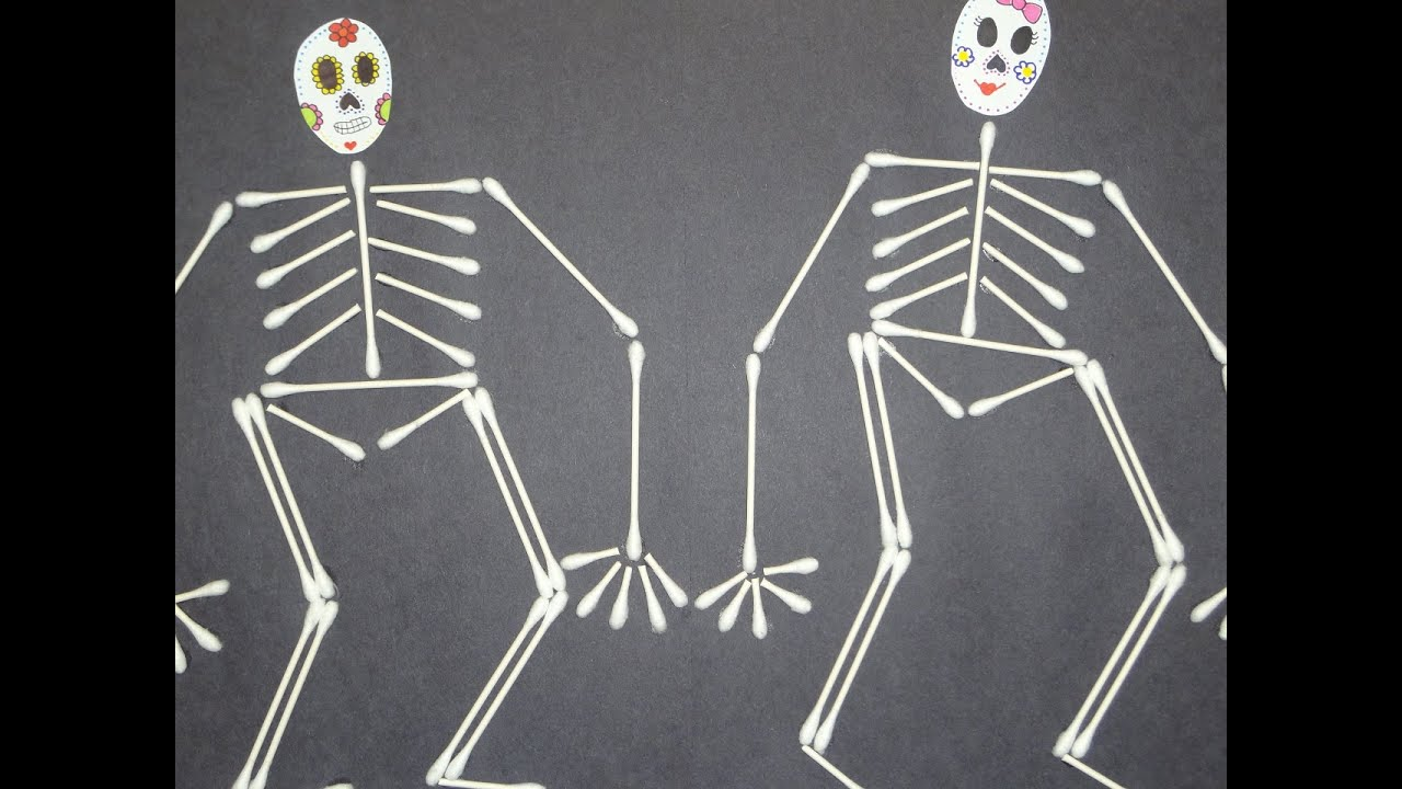 q tip skeleton template - arts crafts for kids q tip cotton swab skeleton youtube