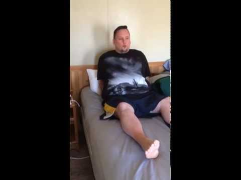 How to get in and out of bed after an umbilical hernia open mesh repair. Video 5