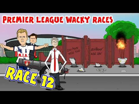 RACE 12 Premier League Wacky Races (Arsenal Tottenham 1-1 Stoke 1-0 Chelsea Highlights)