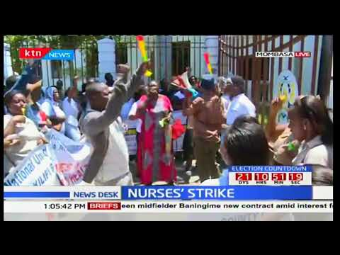 Nurses' strike demonstration in Mombasa outside county government offices