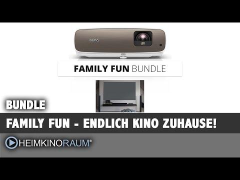Family Fun Bundle - Beamer plus Leinwand Bundle mit BenQ W2700 und Daywalker Kontrastleinwand