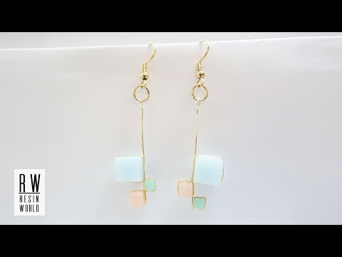キューブ型レジンイヤリング DIY Three Cubes Resin Earrings 【100均レジン|Resin Jewelry】