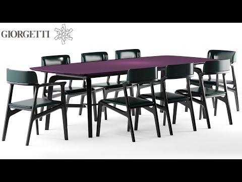 """№165. Моделирование стола и стульев """" Giorgetti Alexa """" в 3d Max"""
