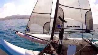 Nacra F20 Carbon Catamaran sailing (Paros, pounda)