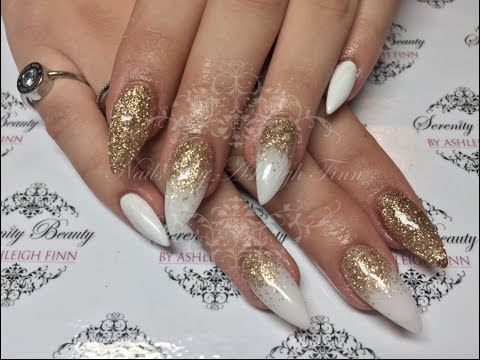 White Gold With A Glitter Fade Acrylic Nails Youtube