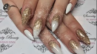 White & Gold with a Glitter Fade | Acrylic Nails