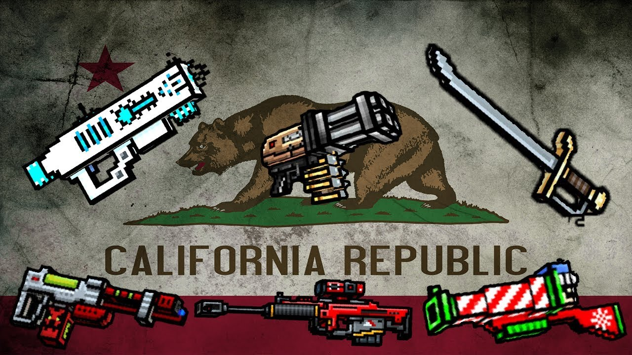 pixel gun 3d california flag color weapons review gameplay youtube